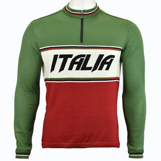 Italia Long Sleeve Merino Wool Cycling Jersey