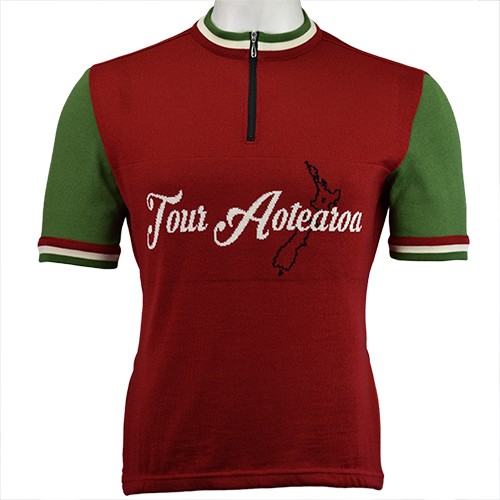 Tour Aotearoa Merino Wool Cycling Jersey - Red/Green Colourway