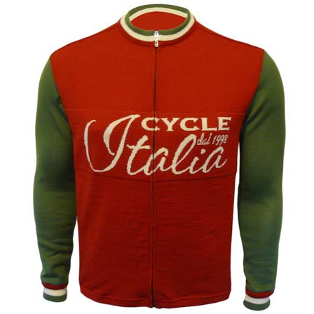CycleItalia Full Zip Long Sleeve Merino Wool Cycling Jersey
