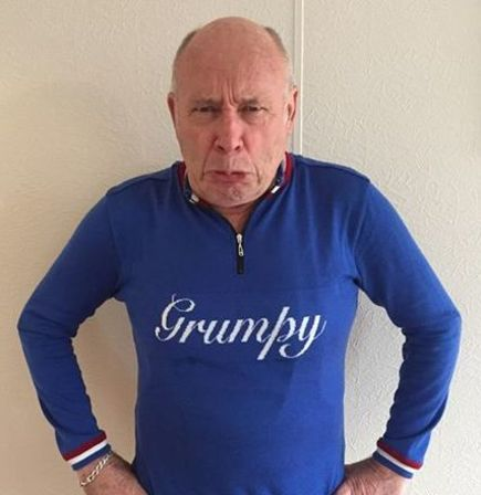 Blue 'Grumpy' custom merino wool cycling jersey