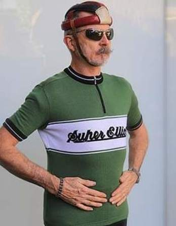 Green Super Elliot custom merino wool cycling jersey