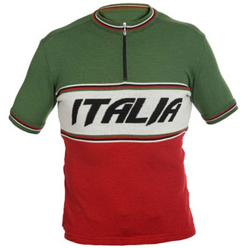Italia Short Sleeve Merino Wool Cycling Jersey